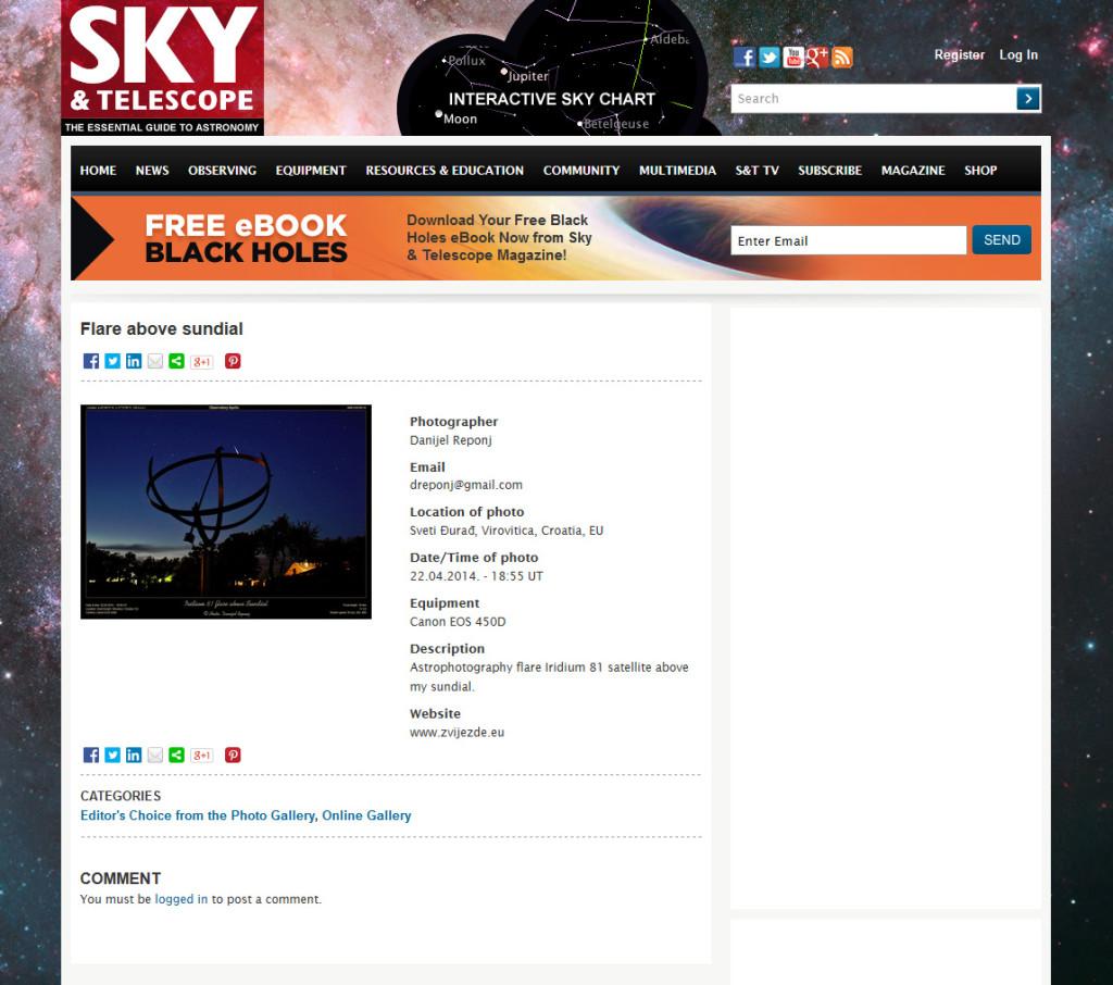 Objava na stranicama Sky and Telescope