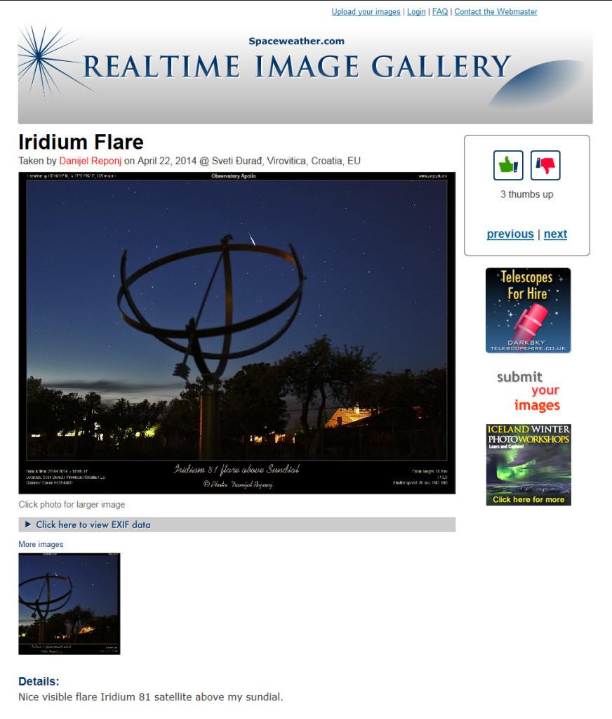 Objava na SpaceWeather.com galeriji