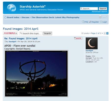 Objava na forumu Starship Asterisk* NASA-inog APOD-a