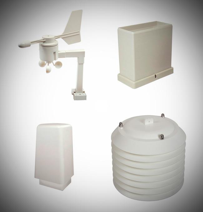 Anemometar, senzor količine oborina, senzor temperature, vlažnosti i tlaka zraka i Stevensonov termo-higro zaklon.