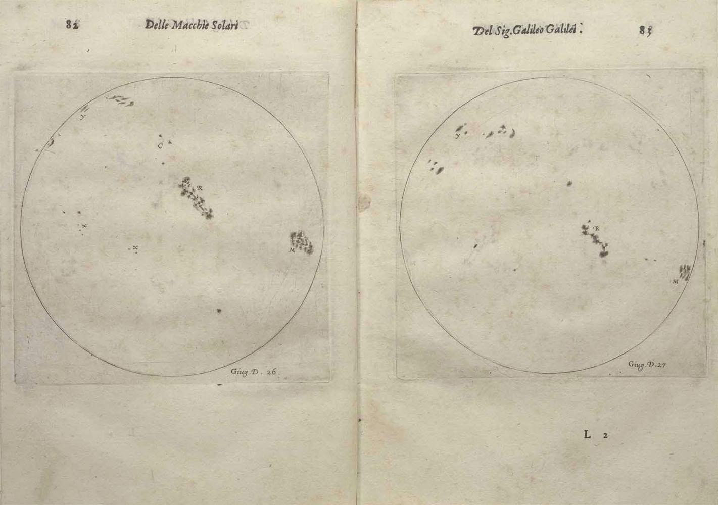 Galileovi crteži Sunca od 26. i 27. lipnja 1613. godine.