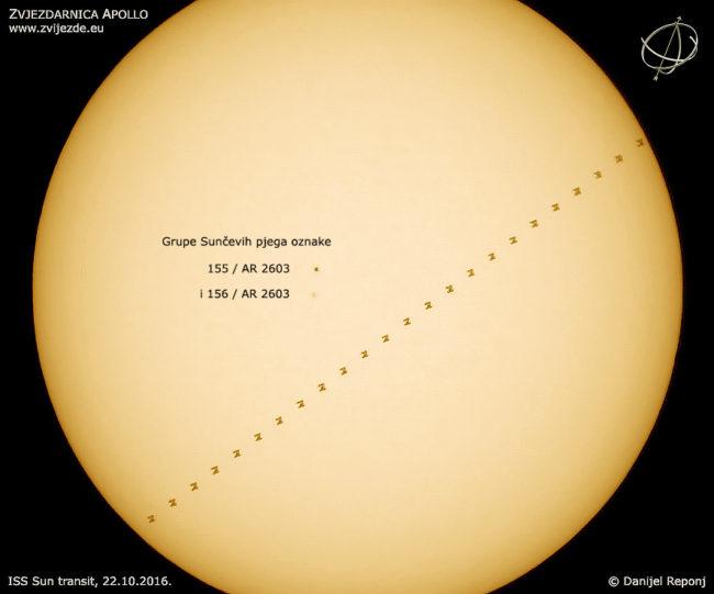 Trag preleta Međunarodne svemirske postaje preko Sunca.
