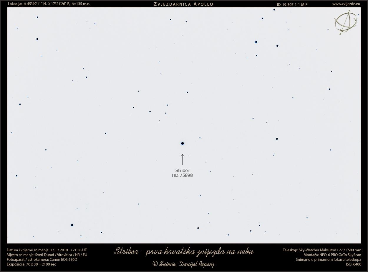Stribor snimljen teleskopom (inverzni snimak)