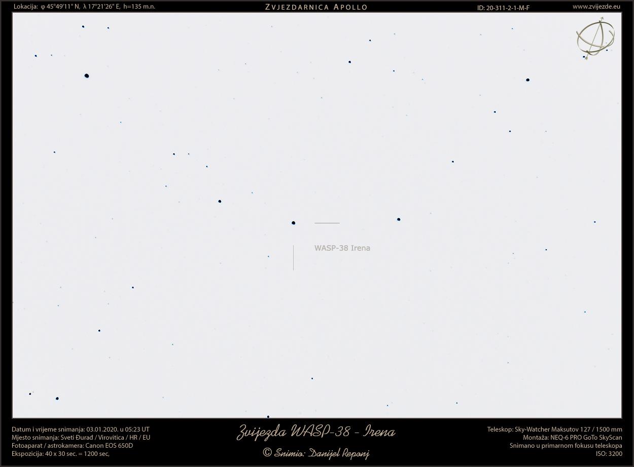 Zvijezda WASP-38 - Irena (inverzni snimak)