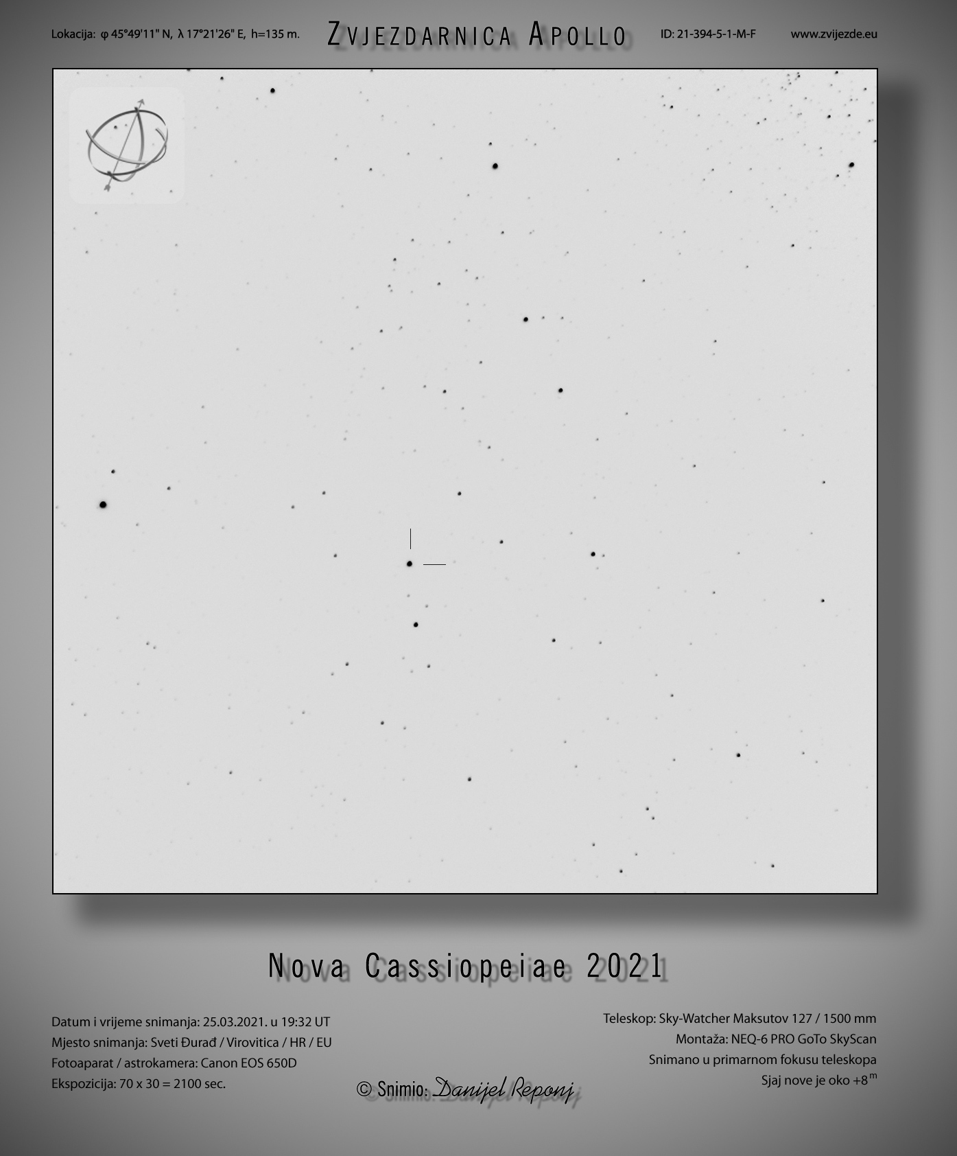 Nova Cassiopeiae - inverzni snimak