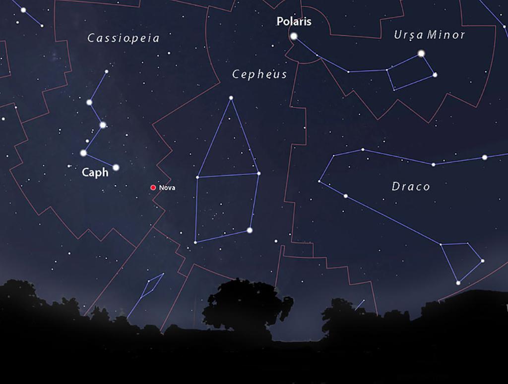 Nova Cassiopeia 2021 - položaj na nebu