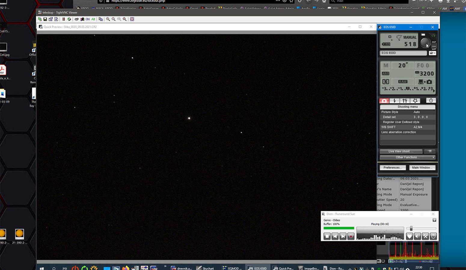Snimanje asteroida Vesta