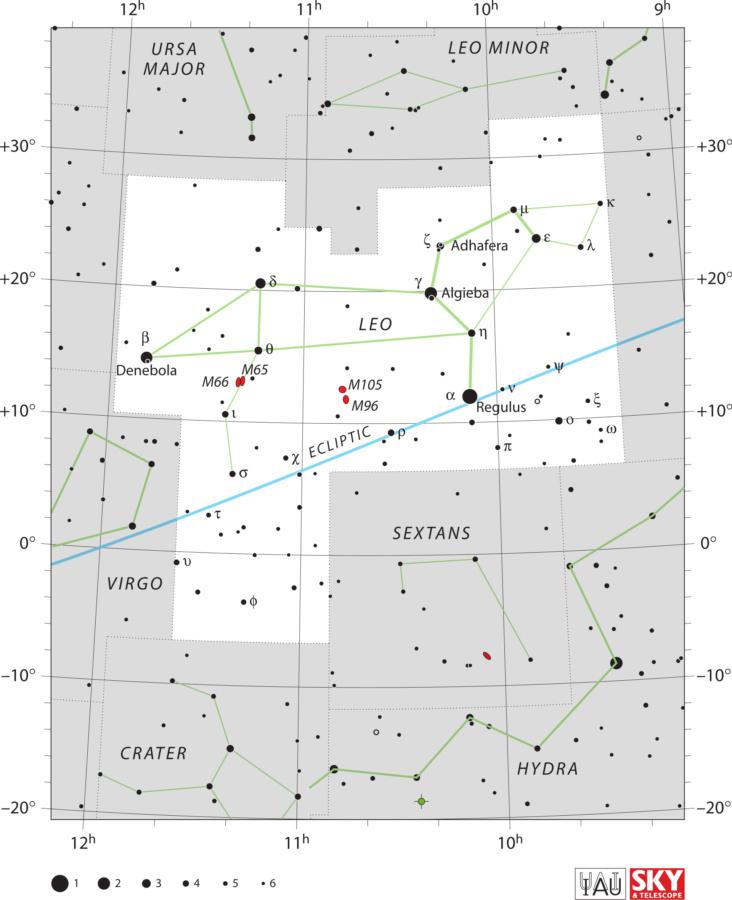 Karta zviježđa Lav