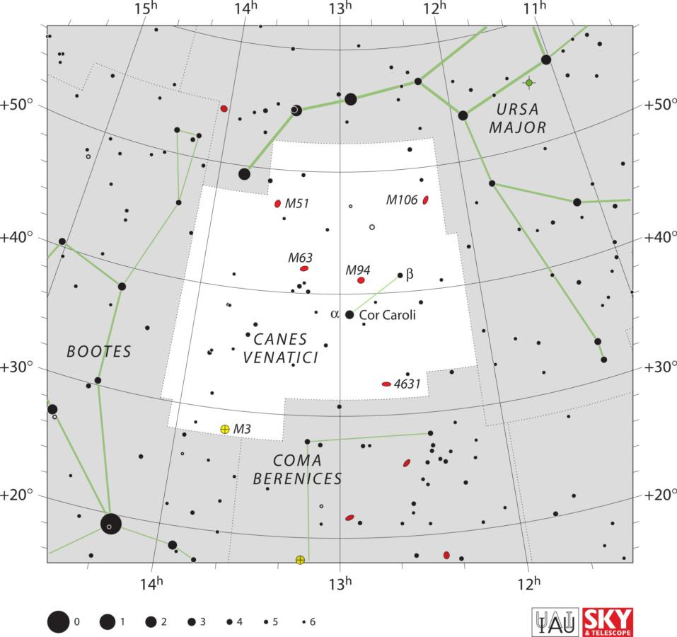 Karta zviježđa Lovački psi