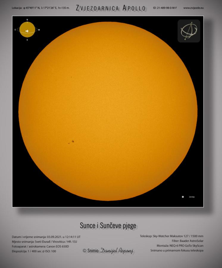 Sunce 3.9.2021. godine.