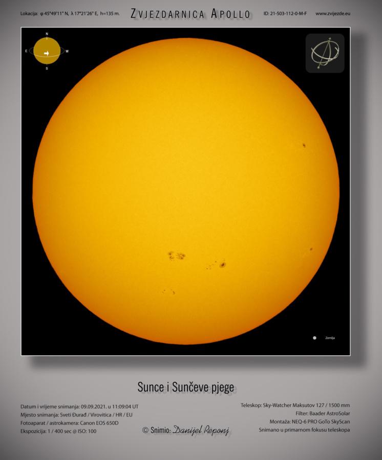 Sunce 9.9.2021. godine.