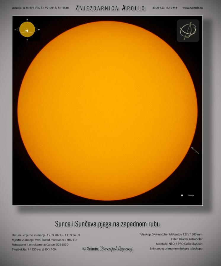 Sunce 15.9.2021. godine.
